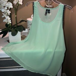 Mint Blouse with Silver Beads: Sleeveless🔥🔥